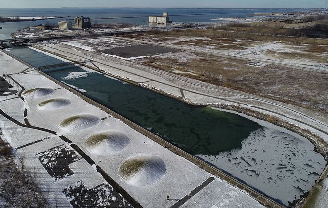 An overview of Buffalo Lakeside Commerce Park on Jan. 11. (Derek Gee/Buffalo News)
