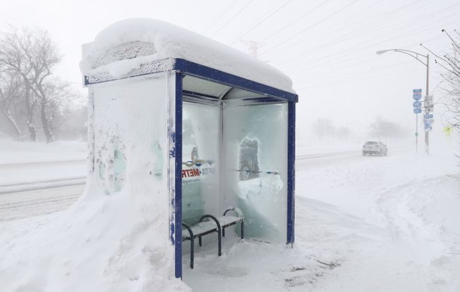 A homeless man known around Williamsville as Larry was found dead in this bus shelter on Main Street close to the I-290 entrance. (Sharon Cantillon/Buffalo News file photo)