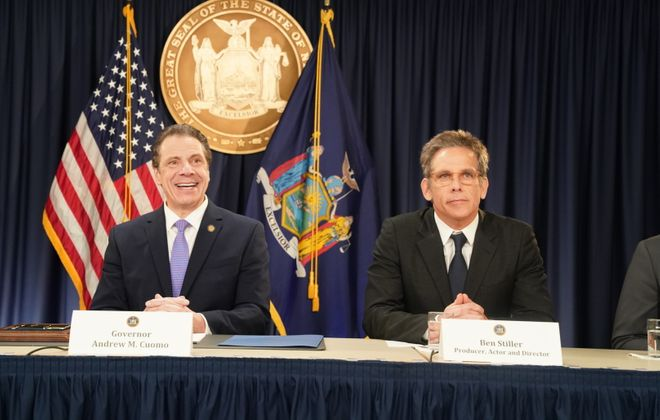 Gov. Andrew M. Cuomo with producer, actor and director Ben Stiller at Thursday's signing of voting reforms for New York State. (Photo provided by governor's office)