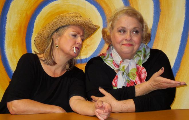 """Pamela Rose Mangus, left, and Mary Kate O'Connell star in O'Connell and Company's production of """"The Kathy & Mo Show: Parallel Lives."""""""