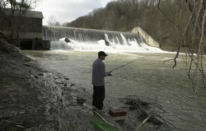 Work is underway to connect the fisheries of the upper and lower parts of Cattaraugus Creek at the Scoby Dam in Springville. (Harry Scull Jr./Buffalo News file photo)