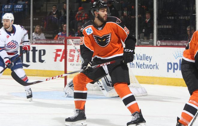 Justin Bailey, who grew up in Western New York, fulfilled his dream of playing for the hometown Buffalo Sabres. Now he is hoping for a chance to stay in the NHL with the Philadelphia Flyers. (Photo courtesy of Lehigh Valley Phantoms)