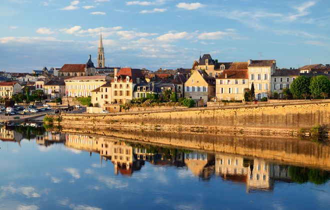 The beautiful city of Bergerac, along the Dordogne river in southern France.