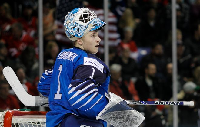 Ukko-Pekka Luukkonen had a 1.80 goals against average for Finland in the World Junior Championship. (Getty Images)