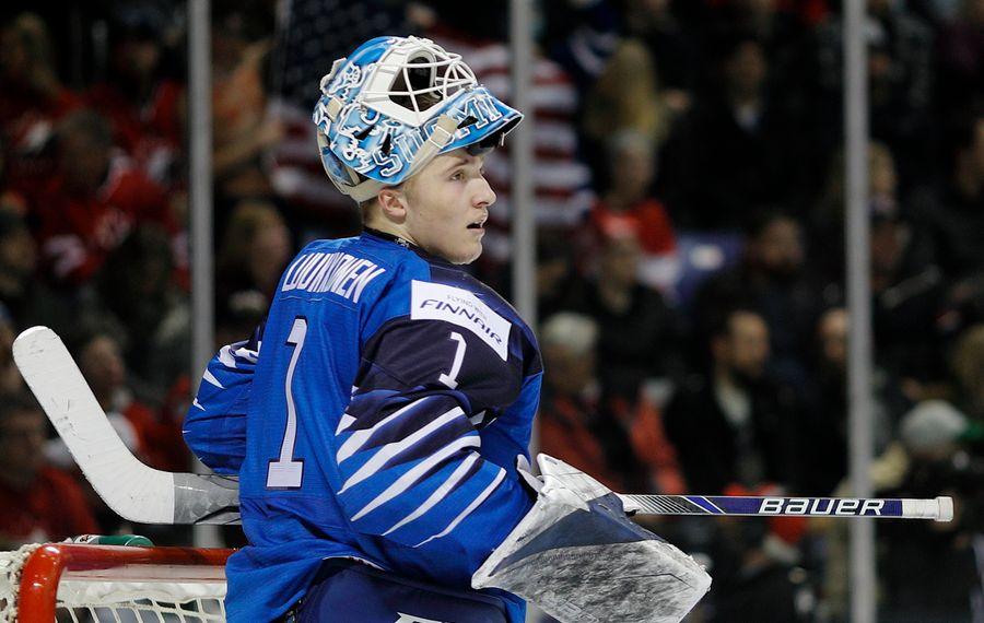Ukko-Pekka Luukkonen had a 1.80 goals against average for Finland in the World Junior Championship. (Getty Images)