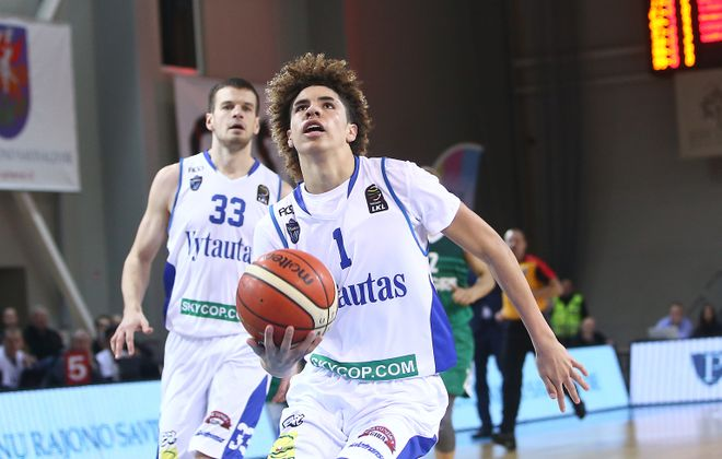 LaMelo Ball, shown playing for Vytautas Prienai in Lithuania, is playing in Buffalo this weekend.  (Alius Koroliovas/Getty Images)