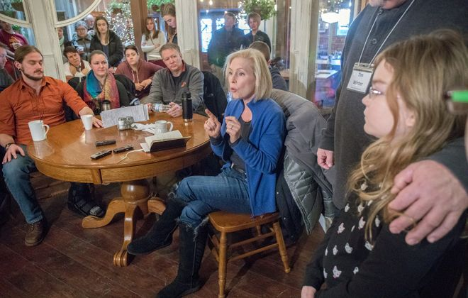 Sen. Kirsten E. Gillibrand speaks to a crowd at the Livery Deli in Boone, Iowa, in January. (Rachel Mummey/New York Times)