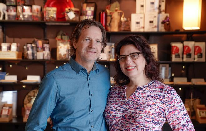 Danny and Joanne Sundell, the creative forces behind Dark Forest Chocolate in Lancaster. He's the chocolate maker while she runs the administrative side of the business. (Dave Jarosz)