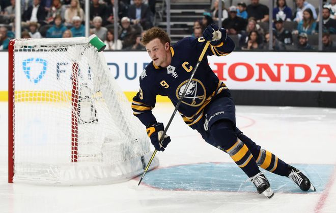 Jack Eichel cuts around the net during the Fastest Skater competition (Getty Images).