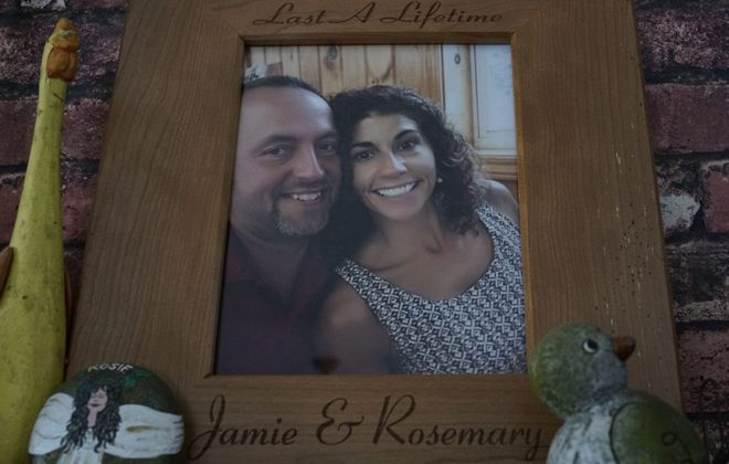 A photograph of Jamie and Rosemary Billquist is displayed in the kitchen of their home in Sherman. (Derek Gee/Buffalo News)