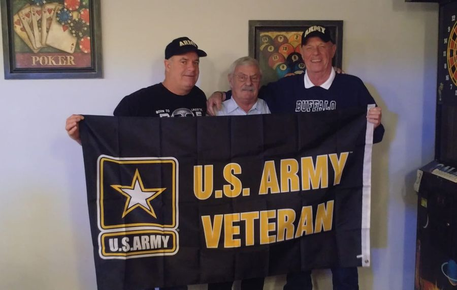 """Louis Miller, right, celebrates his 70th birthday with fellow veterans Brian Beecroft,  left, and John """"Jack"""" Leary. (Photo courtesy of Louis Miller)"""