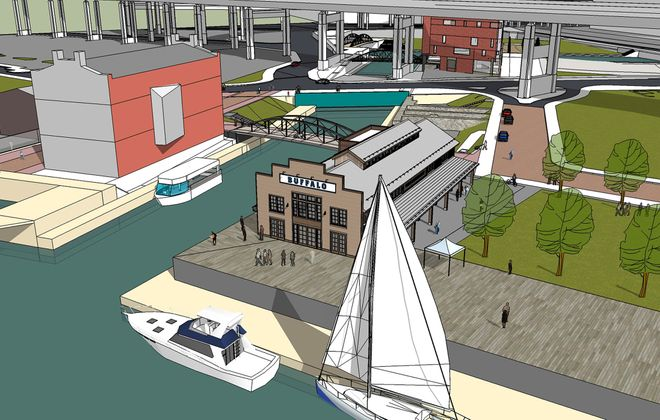 A rendering of the planned Longshed at Canalside, where the replica of an 1825 Erie Canal packet boat will be built.