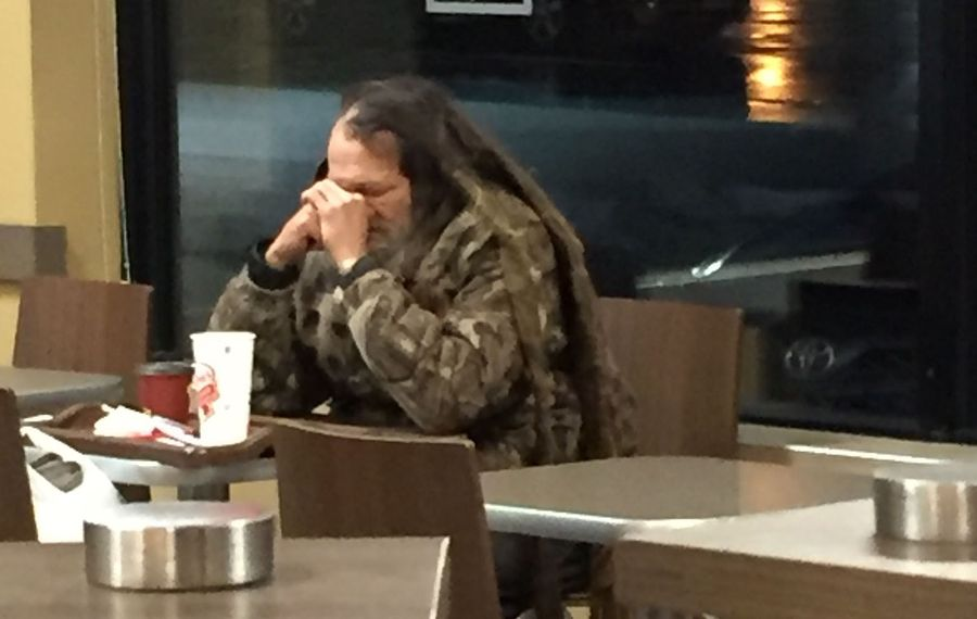 A man known as Larry at the Tim Hortons in the Walker Center in 2016. He was found dead Thursday morning by Amherst Police. (Anne Neville/Buffalo News)