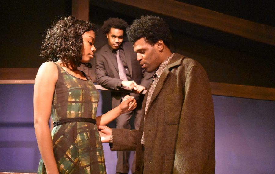 """Janae Leonard and Alphonso Walker Jr. (front) and Augustus Donaldson Jr. (back) star in Paul Robeson's production of """"Native Son."""""""