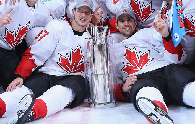 Sidney Crosby, left, and John Tavares were front and center as Team Canada celebrated its World Cup victory in 2016 (Getty Images).