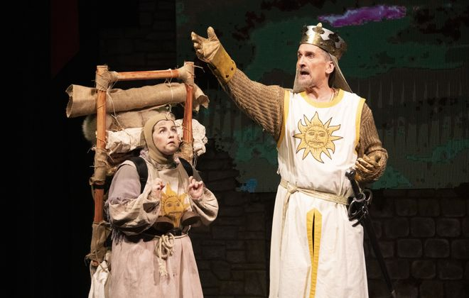 """Arin Dandes, left, as Patsy, and Greg Gjurich, as King Arthur, in """"Spamalot"""" at Kavinoky Theatre. (Photo by Gene Witkowski)"""