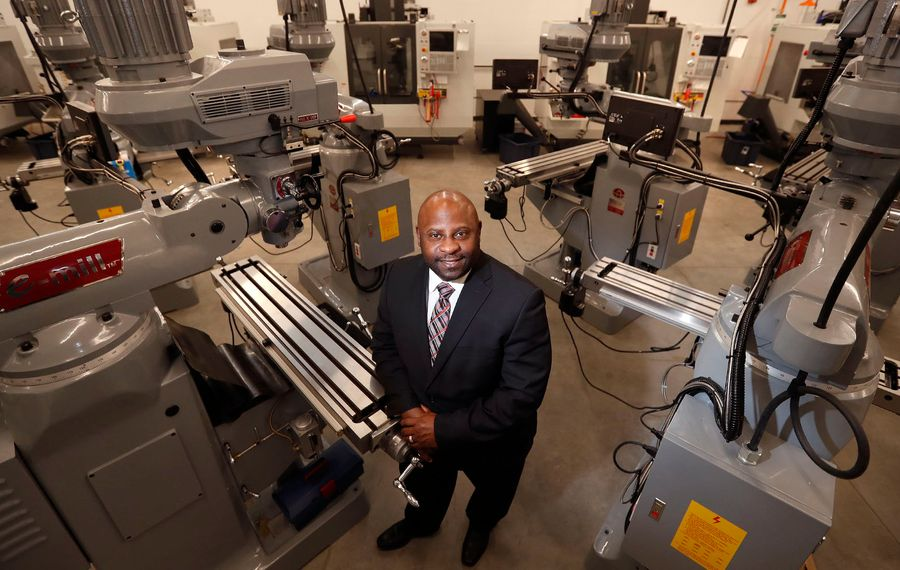 Northland Workforce Training Center President and CEO Stephen Tucker in one of the labs at the center in Buffalo Tuesday, December 11, 2018.    (Mark Mulville/Buffalo News)