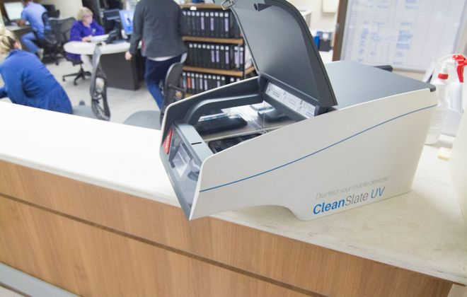 CleanSlate's technology disinfects mobile devices. (Provided photo)