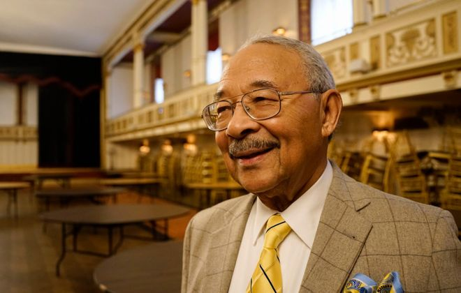 Jim Heck at the Statler City ballroom, where Dr.  Martin Luther King Jr. spoke as a young man: The only thing that could keep Heck away was his wedding. (Derek Gee/The Buffalo News)