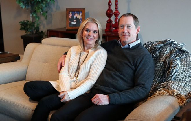 Karin Housley, a Minnesota state senator, and Phil Housley, the former Buffalo Sabres' head coach, at their home in Buffalo. (Sharon Cantillon/News file photo)