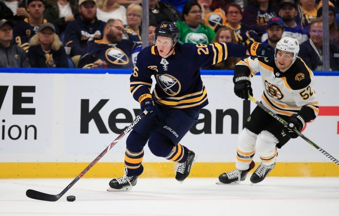 Rasmus Dahlin will get a chance to return home to Sweden for two games this season. (Harry Scull Jr./News file photo)