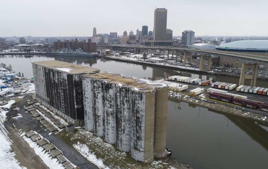 The Connecting Terminal grain elevator on the Outer Harbor, where a bridge was once envisioned cutting through, is now being viewed as a potential visitor center for a relocated bike ferry.  (Derek Gee/Buffalo News)