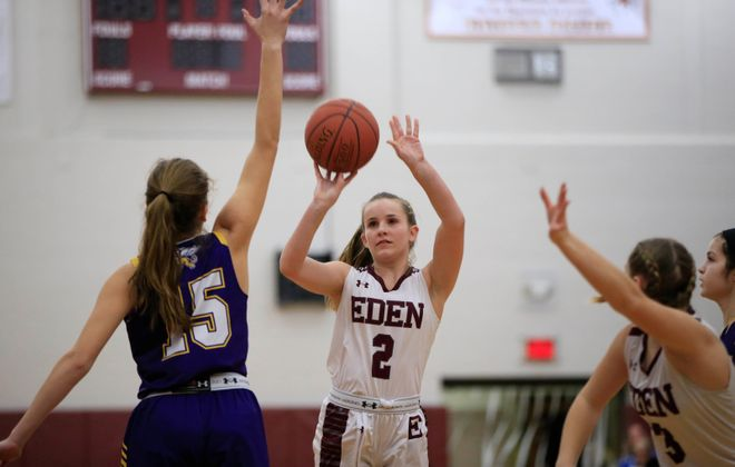 Eden's Jessica Zittel shoots against Springville during the first half at Eden high school on Monday, Jan. 7, 2019. (Harry Scull Jr./ Buffalo News)