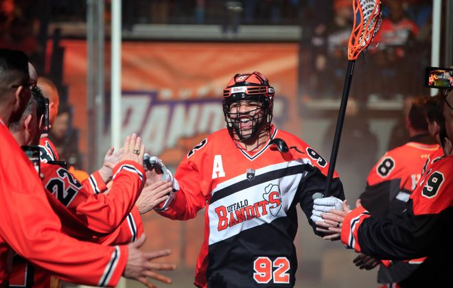 Buffalo Bandits Dhane Smith is introduced prior to playing the Philadelphia Wings in January (Harry Scull Jr./News file photo)