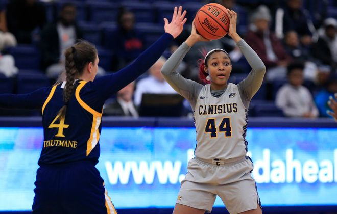 Canisius forward Danielle Sanderlin looks to pass against Quinnipiac during the first half at the Koessler Center on Sunday, Jan. 20, 2019. (Harry Scull Jr./Buffalo News)