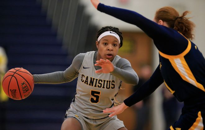 Canisius guard D'Jhai Patterson-Ricks dribbles against Quinnipiac during the first half at the Koessler Center on Sunday, Jan. 20, 2019. (Harry Scull Jr./Buffalo News)