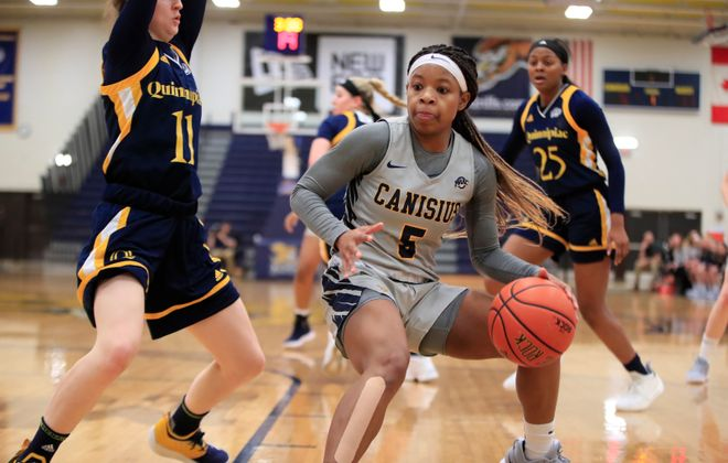 Canisius guard D'Jhai Patterson-Ricks dribbles against Quinnipiac during the first half of a College basketball game at the Koessler Center on Sunday, Jan. 20, 2019. (Harry Scull Jr./ Buffalo News)