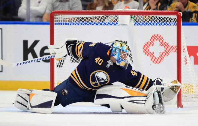 Carter Hutton got the call for the Sabres in goal Thursday in Tampa after Linus Ullmark suffered a minor injury in the morning skate. (Harry Scull Jr./News file photo)
