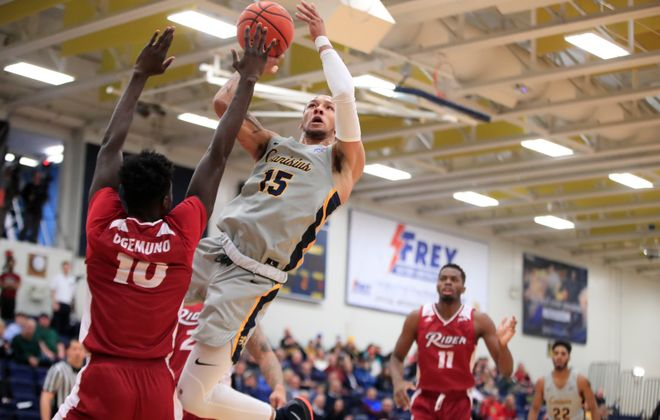 Canisius forward Takal Molson drives to the basket against Rider during the first half of a college basketball game at the Koessler Center on Friday, Jan. 11, 2019. (Harry Scull Jr./ Buffalo News)
