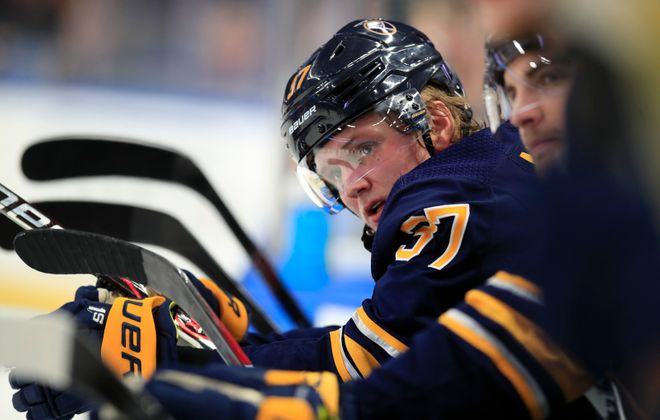 Buffalo Sabres rookie center Casey Mittelstadt attended the University of Minnesota for one year. (Harry Scull Jr./Buffalo News)