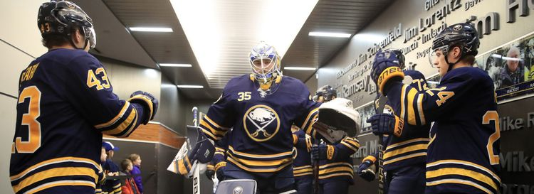 Sabres goaltender Linus Ullmark heads to the ice for a home game vs. the Detroit Red Wings on Saturday afternoon in KeyBank Center. (Harry Scull Jr./Buffalo News)