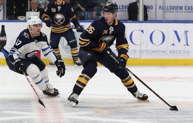 Defenseman Rasmus Dahlin has 16 power-play points as a rookie for the Buffalo Sabres. (James P. McCoy/Buffalo News)