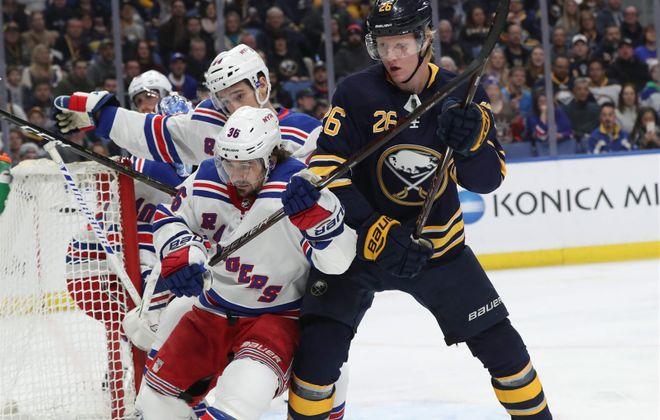 Buffalo Sabres defenseman Rasmus Dahlin had a minus-1 rating Friday night against the New York Rangers (James McCoy/Buffalo News)