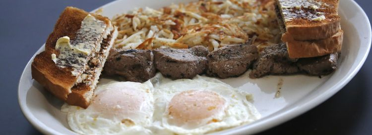 Breakfast Platter at Granny's Family Restaurant is a filling dish of beef, eggs and hash browns.  (Robert Kirkham/Buffalo News)