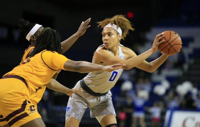 University at Buffalo forward Summer Hemphill looks to pass against Central Michigan during second half action at Alumni Arena on Saturday, Feb. 16, 2019.  Hemphill had 21 points and nine rebounds. (Harry Scull Jr./Buffalo News)
