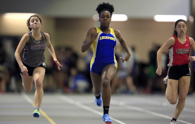 Kahniya James from Lockport wins Heat One of the 55-Meter Dash  at the Section VI Indoor Track & Field State Qualifier at the Kerr-Pegula Field House at Houghton College Thursday. (Harry Scull Jr./Buffalo News)