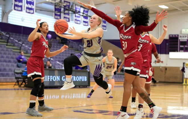 Niagara University guard Maggie McIntyre drives to the basket against Rider during a February 2019 game. (Harry Scull Jr./News file photo)