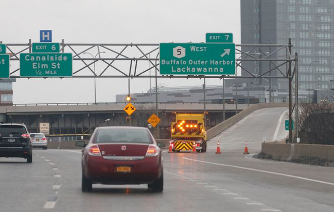 The I-190 entrance to the Skyway was closed on Sunday due to the high winds. (Robert Kirkham/Buffalo News)