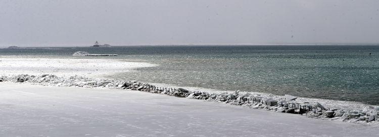 Ice covers the Bird Island Pier in Buffalo on Feb. 25. (John Hickey/Buffalo News)