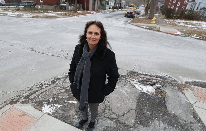 Joanne Lorenzo outside Magdalene Project headquarters at 19th and Falls streets in Niagara Falls on Jan. 17, 2019. (Sharon Cantillon/News file photo)