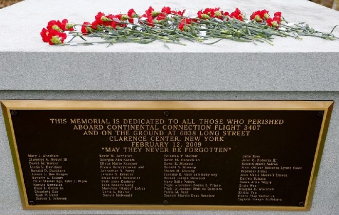The common memorial in Forest Lawn Cemetery for those who died on Flight 3407 serves as a pointed reminder of the importance of the air safety improvement enacted since the crash, 10 years ago Tuesday. (Mark Mulville/Buffalo News)