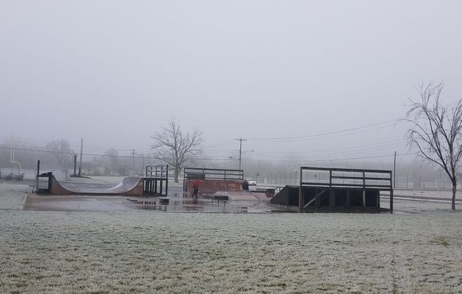 Lockport's Railyard Skatepark as it appeared covered with ice on Feb. 7, 2019. (Thomas J. Prohaska/Buffalo News)