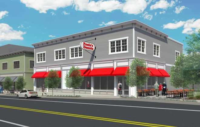 A rendering of the proposed Paula's Donuts on Seneca Street in Larkinville. (Image courtesy of Larkin Development Group)