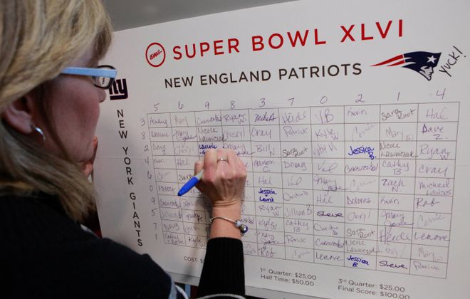 Super Bowl squares pools, like this one from 2012, are popular every year.   (Derek Gee/Buffalo News file photo)