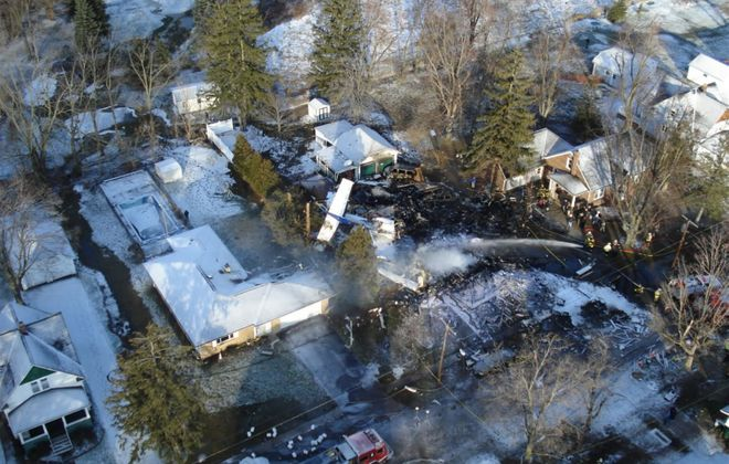 An aerial view shows where Flight 3407 crashed into a home in Clarence in 2009, killing all 49 people aboard and a man in the home. (Derek Gee/News file photo)