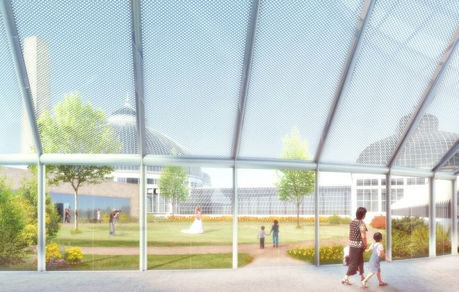 An artistic rendering shows a new glass building designed by Toshiko Mori that is the  centerpiece of the Buffalo & Erie County Botanical Gardens' proposed $14 million expansion.